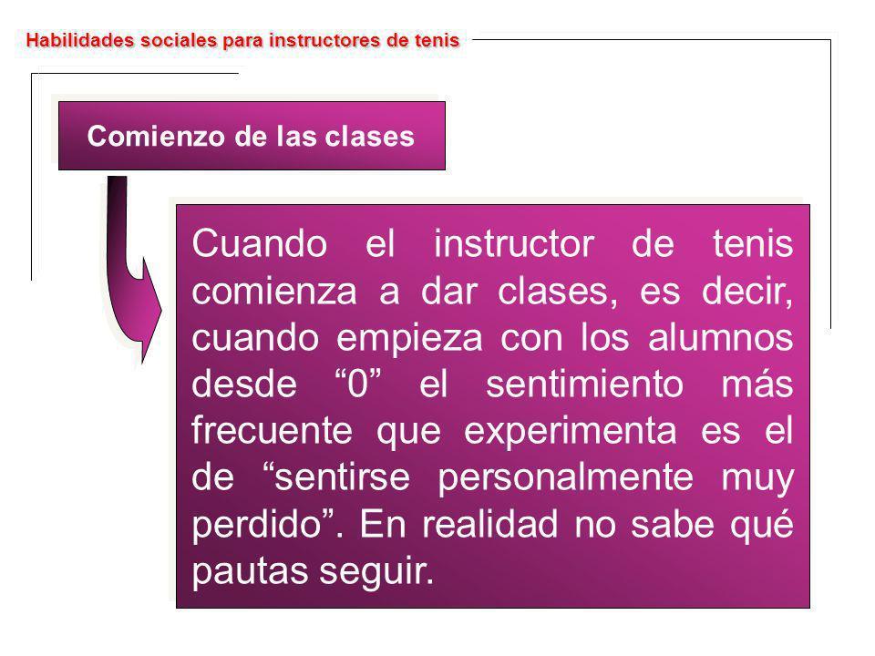 Habilidades sociales para instructores de tenis Comienzo de las clases Cuando el instructor de tenis comienza a dar clases, es decir, cuando empieza c