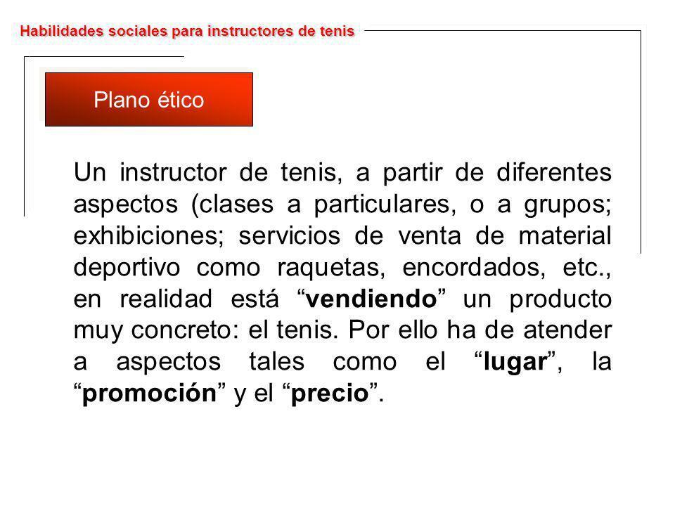 Habilidades sociales para instructores de tenis Plano ético Un instructor de tenis, a partir de diferentes aspectos (clases a particulares, o a grupos
