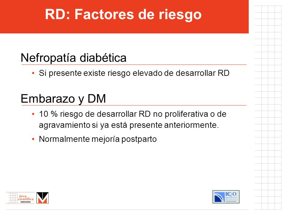 Nefropatía diabética Si presente existe riesgo elevado de desarrollar RD Embarazo y DM 10 % riesgo de desarrollar RD no proliferativa o de agravamient