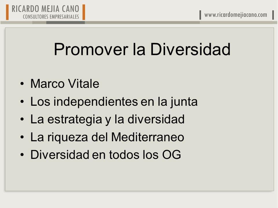 Promover la Diversidad Marco Vitale Los independientes en la junta La estrategia y la diversidad La riqueza del Mediterraneo Diversidad en todos los O