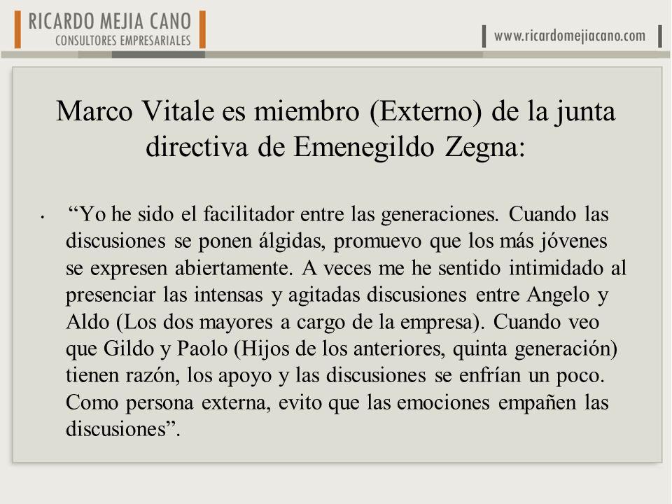 Marco Vitale es miembro (Externo) de la junta directiva de Emenegildo Zegna: Yo he sido el facilitador entre las generaciones. Cuando las discusiones