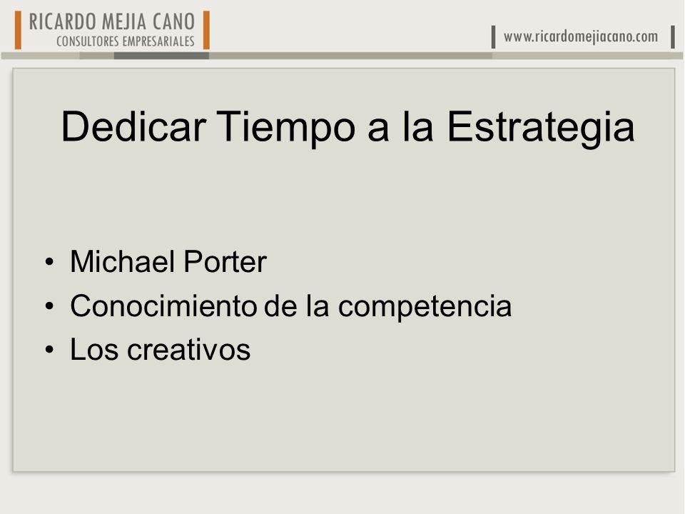 Dedicar Tiempo a la Estrategia Michael Porter Conocimiento de la competencia Los creativos