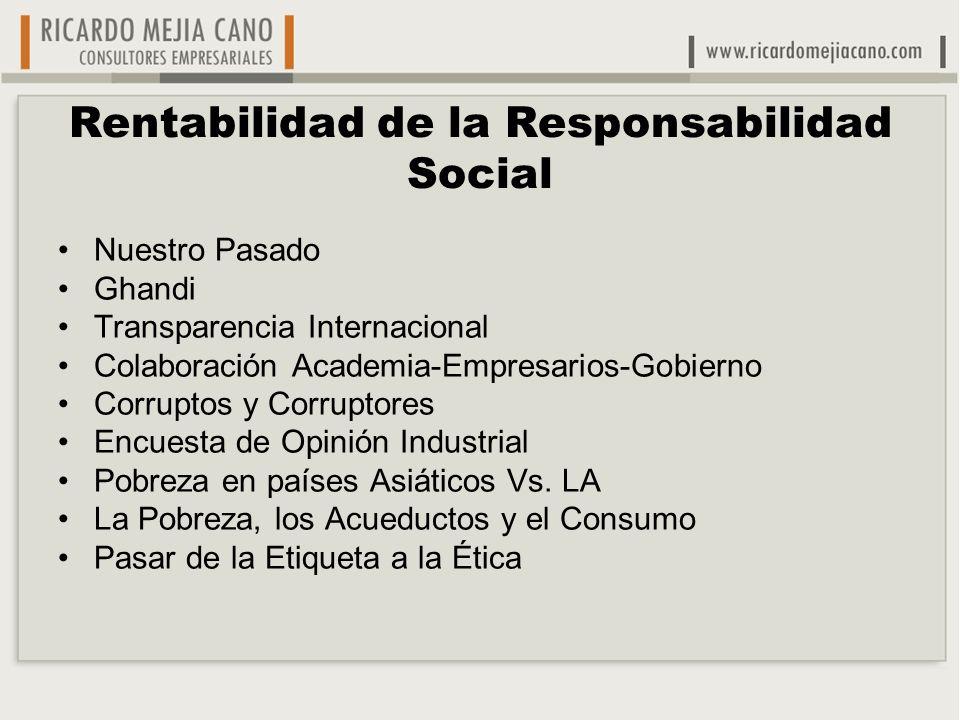 Rentabilidad de la Responsabilidad Social Nuestro Pasado Ghandi Transparencia Internacional Colaboración Academia-Empresarios-Gobierno Corruptos y Cor