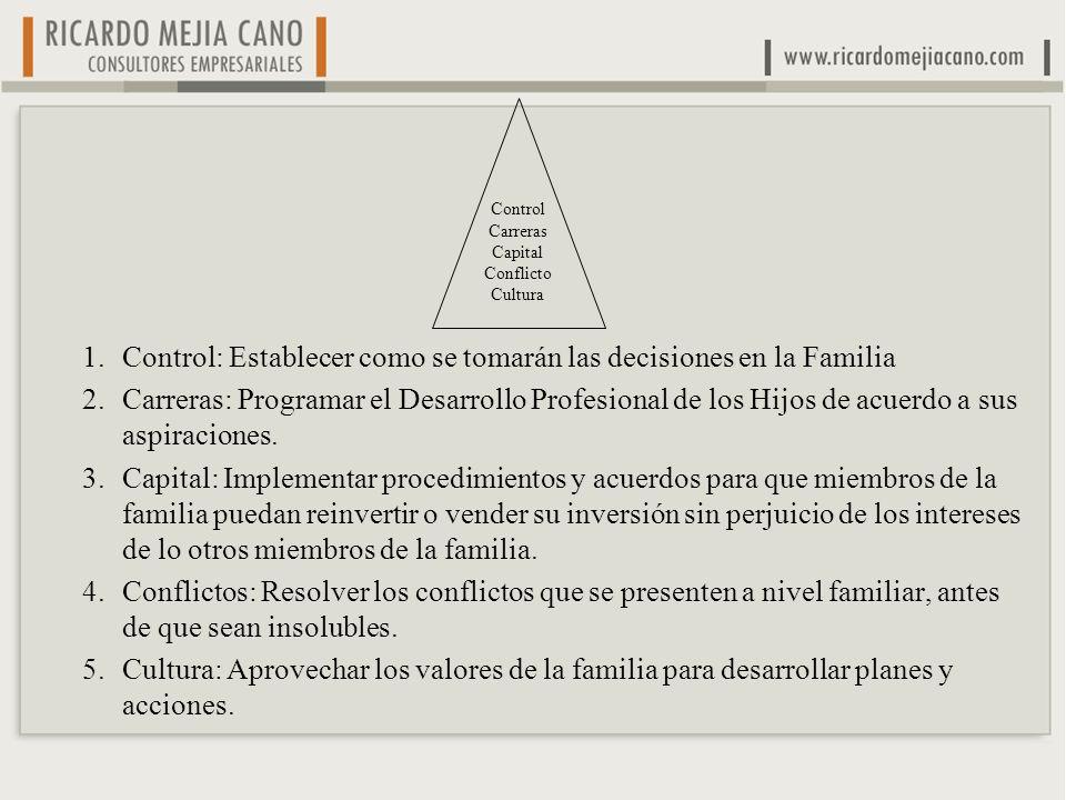 1.Control: Establecer como se tomarán las decisiones en la Familia 2.Carreras: Programar el Desarrollo Profesional de los Hijos de acuerdo a sus aspir