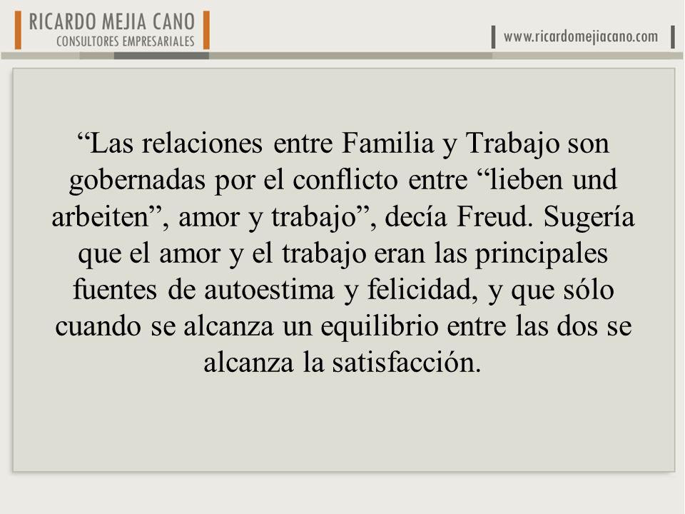Las relaciones entre Familia y Trabajo son gobernadas por el conflicto entre lieben und arbeiten, amor y trabajo, decía Freud. Sugería que el amor y e