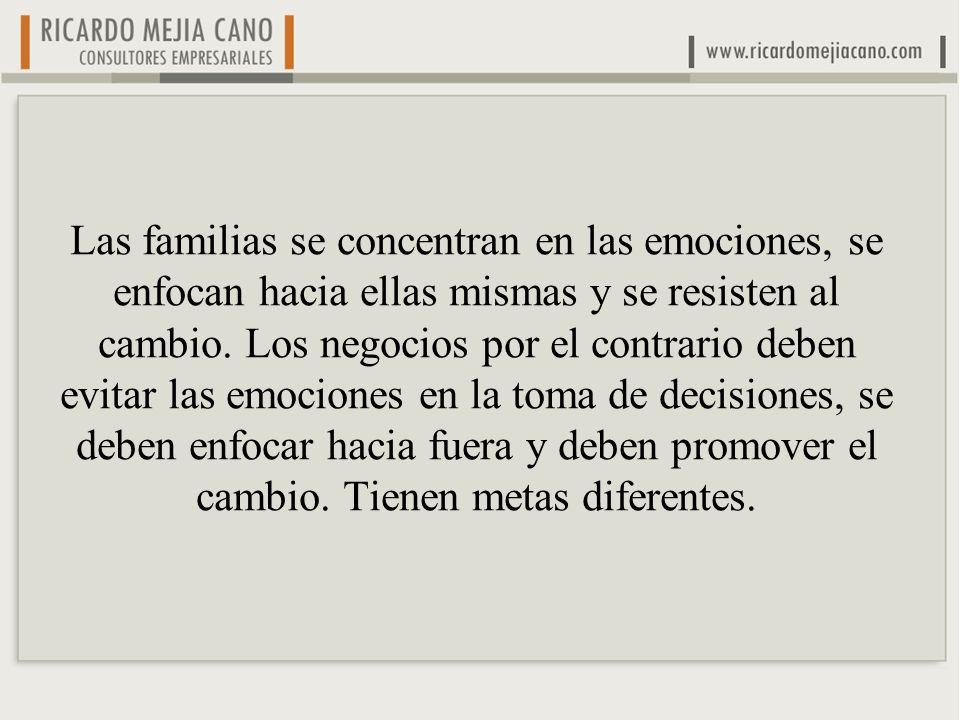 Las familias se concentran en las emociones, se enfocan hacia ellas mismas y se resisten al cambio. Los negocios por el contrario deben evitar las emo