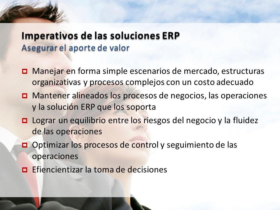 Imperativos de las soluciones ERP Asegurar el aporte de valor Manejar en forma simple escenarios de mercado, estructuras organizativas y procesos comp