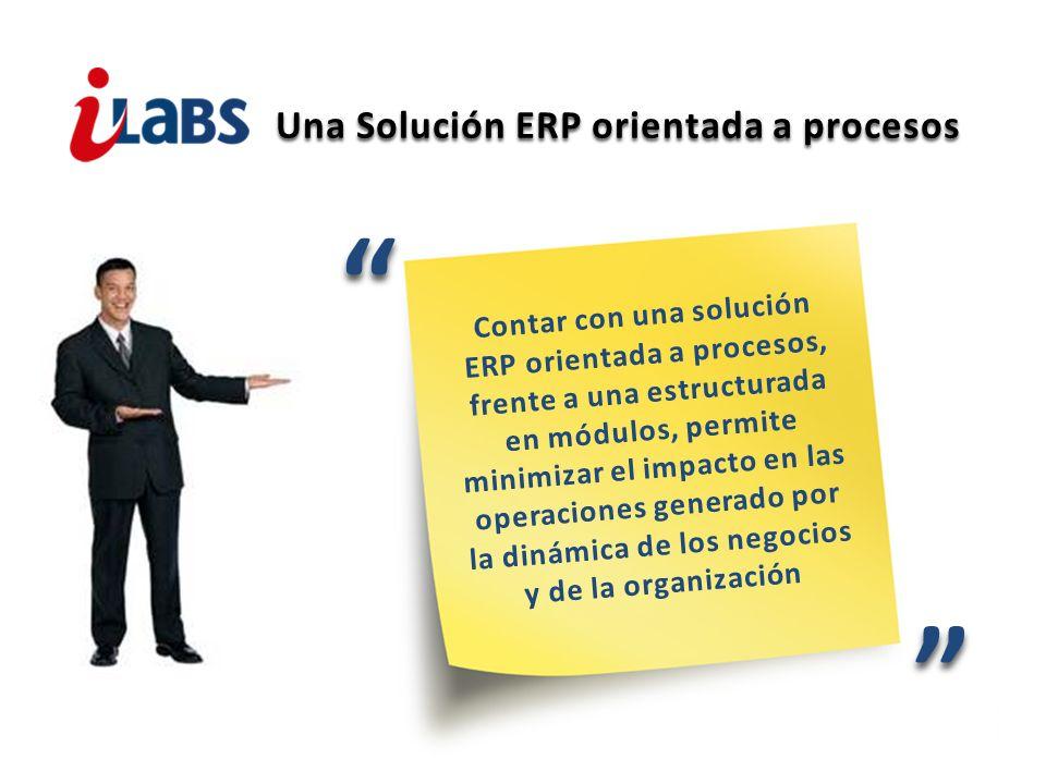 Una Solución ERP orientada a procesos Contar con una solución ERP orientada a procesos, frente a una estructurada en módulos, permite minimizar el imp