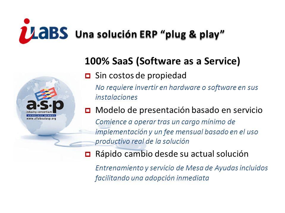 Una solución ERP plug & play 100% SaaS (Software as a Service) Sin costos de propiedad No requiere invertir en hardware o software en sus instalacione