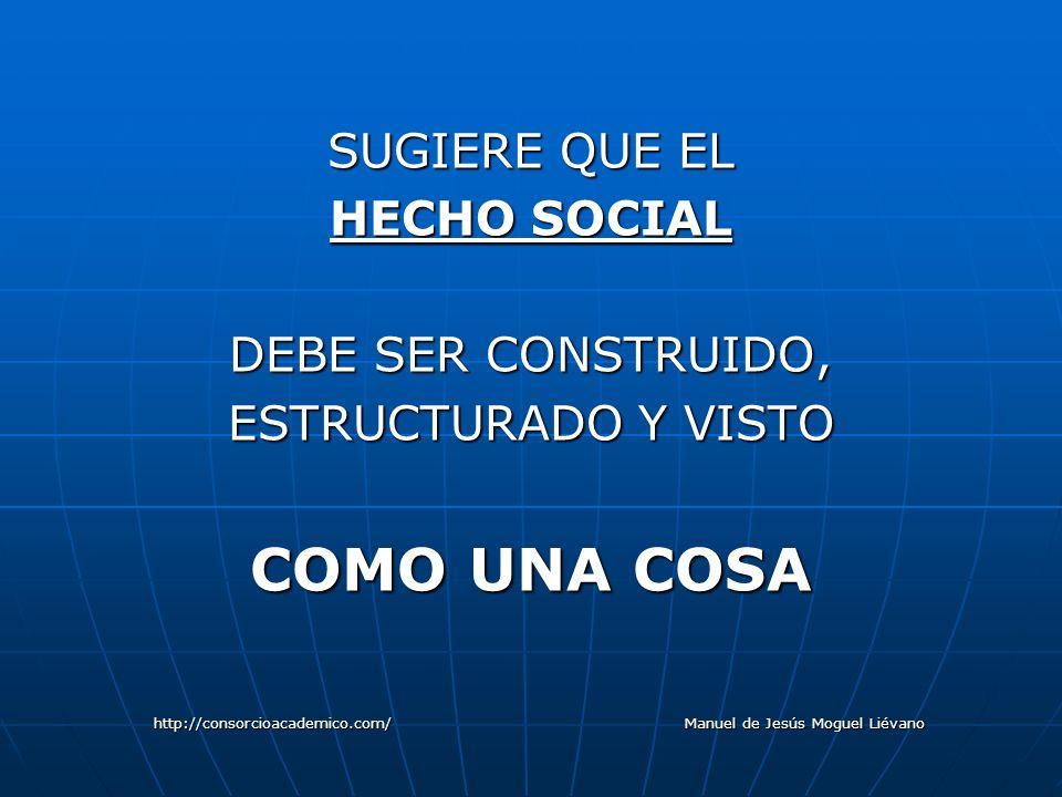 SUGIERE QUE EL HECHO SOCIAL DEBE SER CONSTRUIDO, ESTRUCTURADO Y VISTO COMO UNA COSA http://consorcioacademico.com/ Manuel de Jesús Moguel Liévano