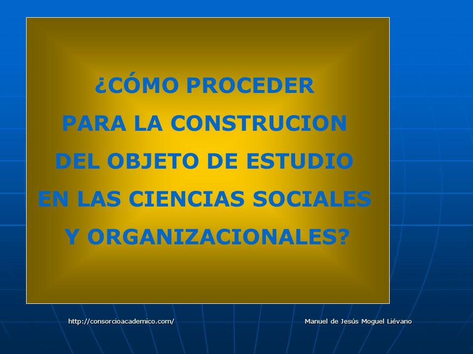 ¿CÓMO PROCEDER PARA LA CONSTRUCION DEL OBJETO DE ESTUDIO EN LAS CIENCIAS SOCIALES Y ORGANIZACIONALES? http://consorcioacademico.com/ Manuel de Jesús M