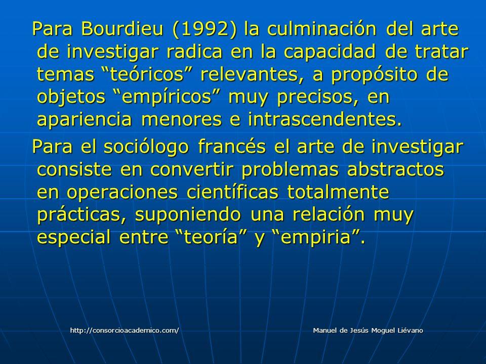 Para Bourdieu (1992) la culminación del arte de investigar radica en la capacidad de tratar temas teóricos relevantes, a propósito de objetos empírico