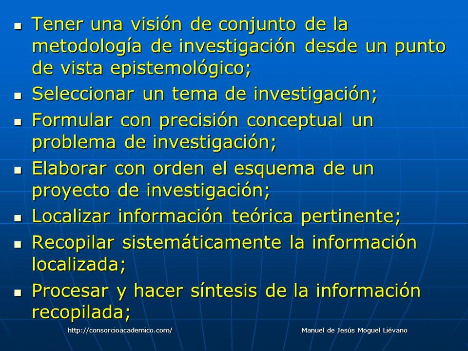 Tener una visión de conjunto de la metodología de investigación desde un punto de vista epistemológico; Tener una visión de conjunto de la metodología