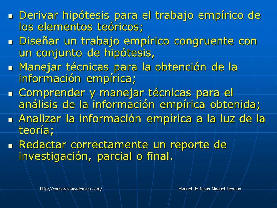 Derivar hipótesis para el trabajo empírico de los elementos teóricos; Derivar hipótesis para el trabajo empírico de los elementos teóricos; Diseñar un