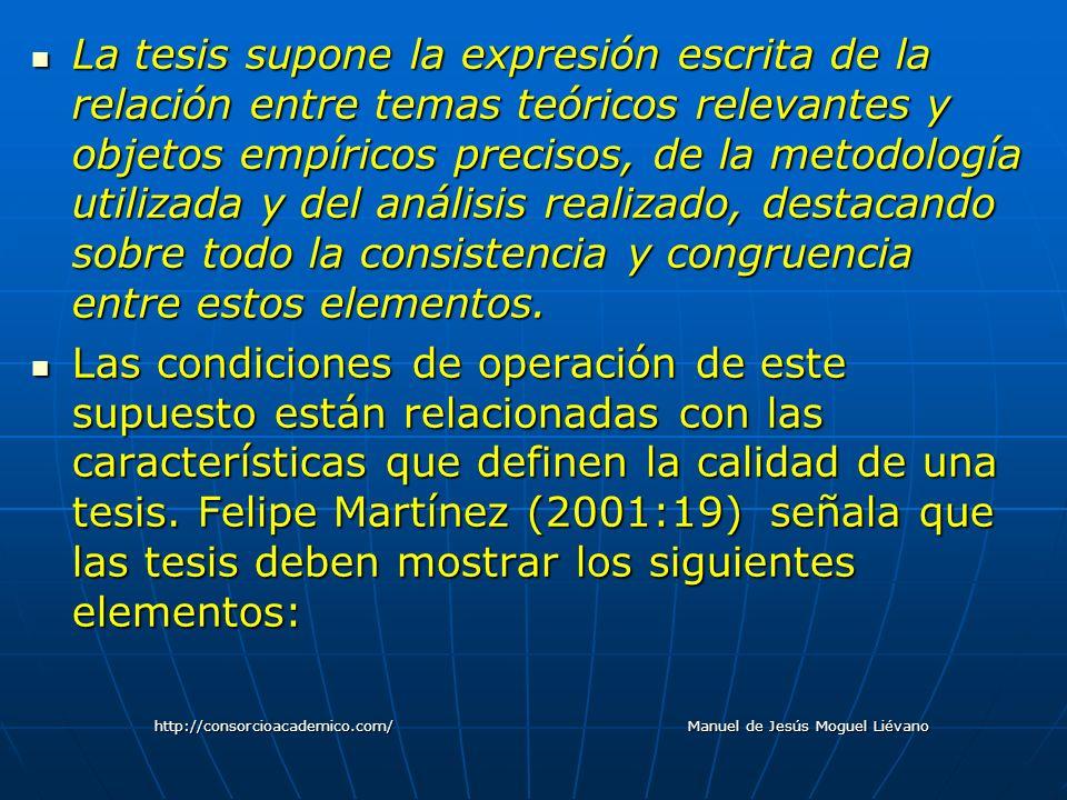 La tesis supone la expresión escrita de la relación entre temas teóricos relevantes y objetos empíricos precisos, de la metodología utilizada y del an
