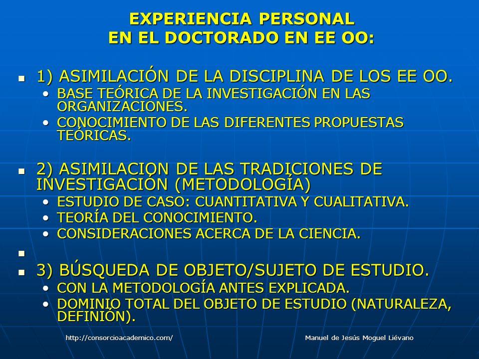 EXPERIENCIA PERSONAL EN EL DOCTORADO EN EE OO: 1) ASIMILACIÓN DE LA DISCIPLINA DE LOS EE OO. 1) ASIMILACIÓN DE LA DISCIPLINA DE LOS EE OO. BASE TEÓRIC