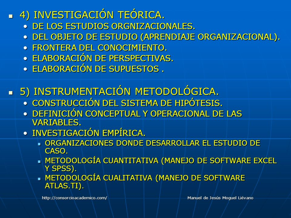 4) INVESTIGACIÓN TEÓRICA. 4) INVESTIGACIÓN TEÓRICA. DE LOS ESTUDIOS ORGNIZACIONALES.DE LOS ESTUDIOS ORGNIZACIONALES. DEL OBJETO DE ESTUDIO (APRENDIAJE