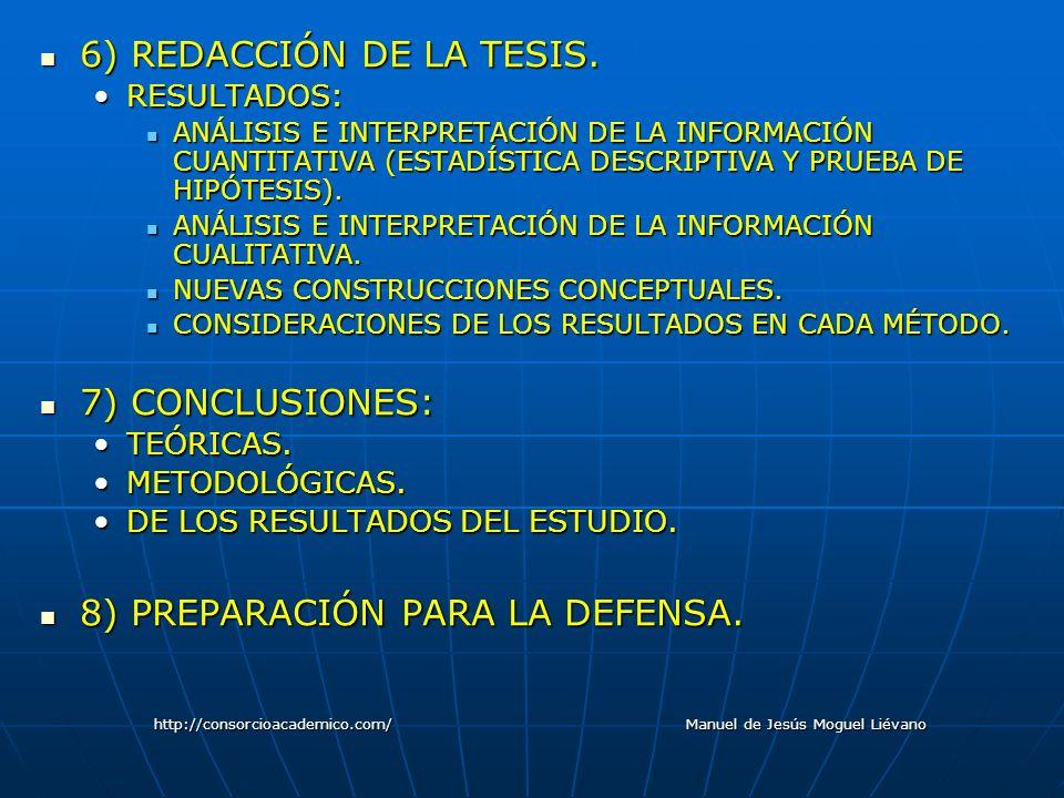 6) REDACCIÓN DE LA TESIS. 6) REDACCIÓN DE LA TESIS. RESULTADOS:RESULTADOS: ANÁLISIS E INTERPRETACIÓN DE LA INFORMACIÓN CUANTITATIVA (ESTADÍSTICA DESCR