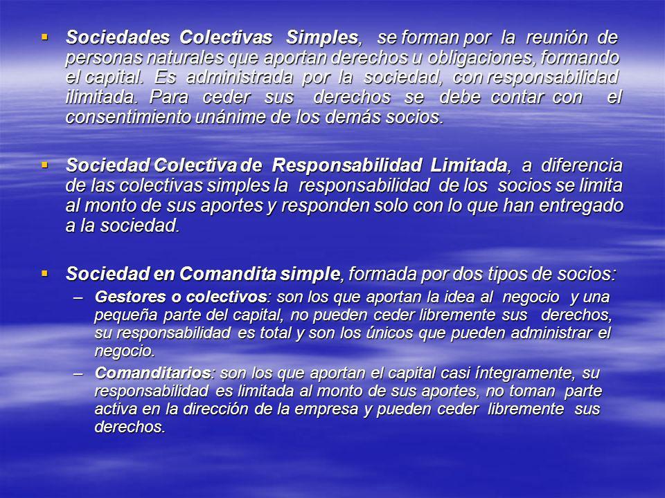 Sociedades Colectivas Simples, se forman por la reunión de personas naturales que aportan derechos u obligaciones, formando el capital. Es administrad