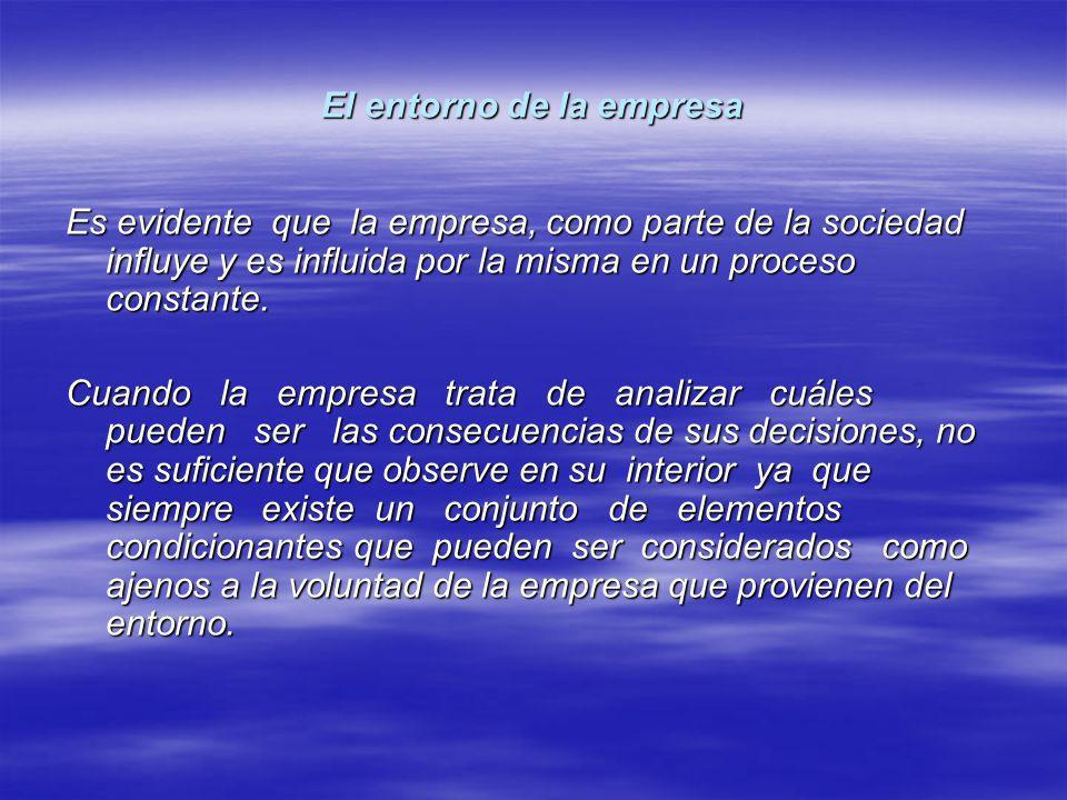 El entorno de la empresa Es evidente que la empresa, como parte de la sociedad influye y es influida por la misma en un proceso constante. Cuando la e