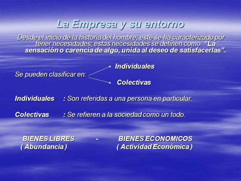 La Empresa y su entorno Desde el inicio de la historia del hombre, este se ha caracterizado por tener necesidades; estas necesidades se definen como: