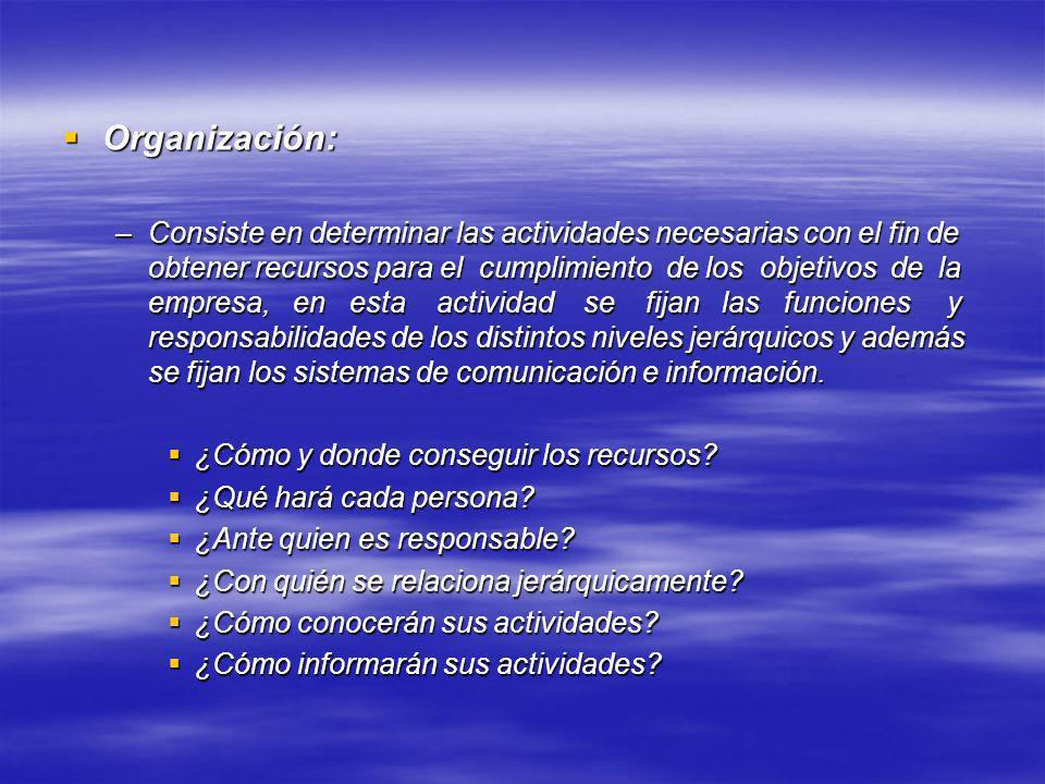 Organización: Organización: –Consiste en determinar las actividades necesarias con el fin de obtener recursos para el cumplimiento de los objetivos de