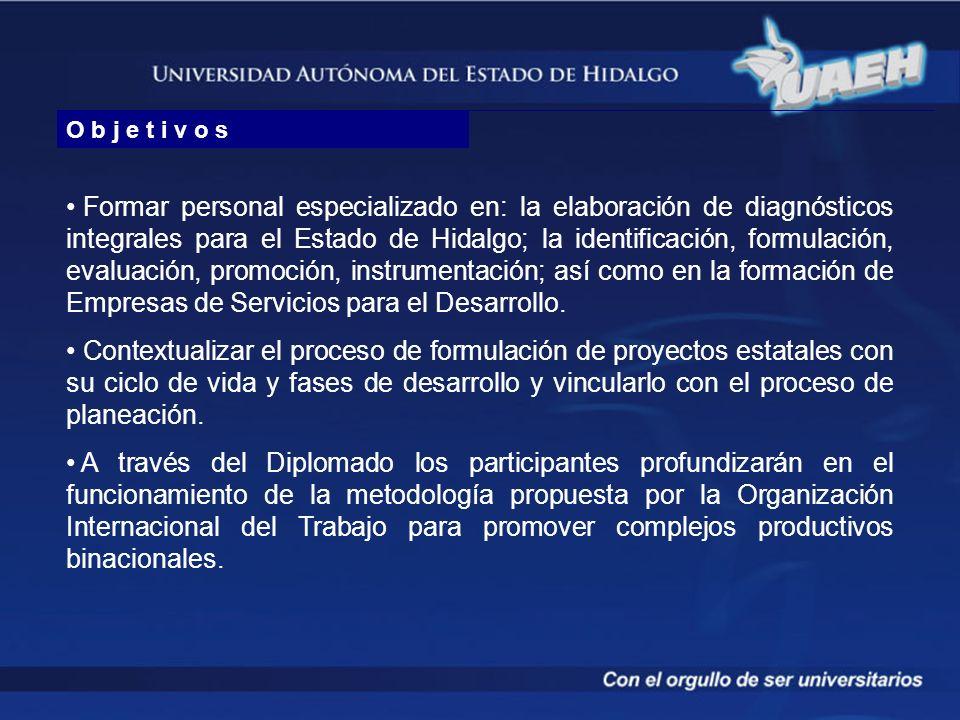 O b j e t i v o s Formar personal especializado en: la elaboración de diagnósticos integrales para el Estado de Hidalgo; la identificación, formulació