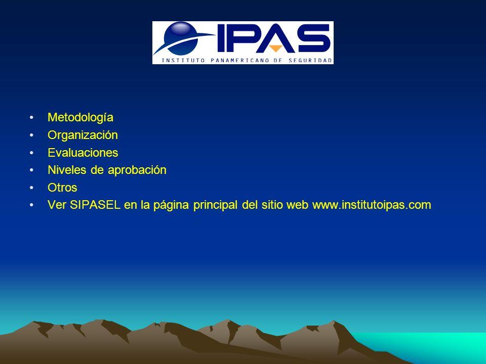 Metodología Organización Evaluaciones Niveles de aprobación Otros Ver SIPASEL en la página principal del sitio web www.institutoipas.com