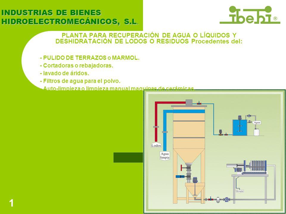 2 FILTRO PRENSA Modelos IBL/97 - 630 IBL/97 - 800 El filtro prensa se fabrica según necesidades y números de placas de 630x630mm y 800x800mm.
