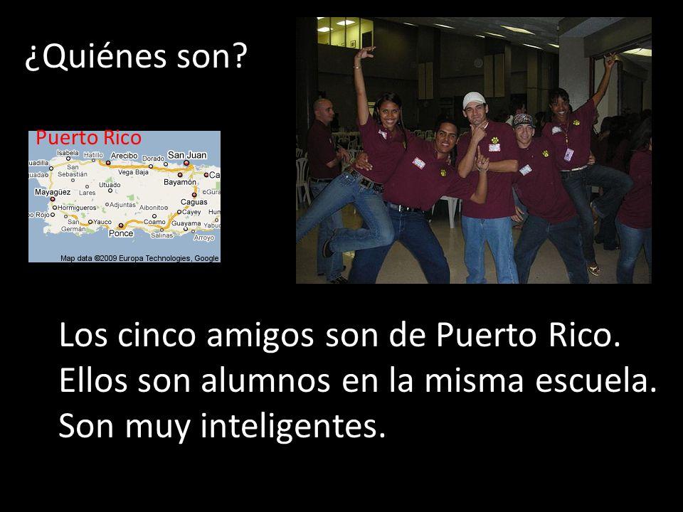 ¿Quiénes son? Los cinco amigos son de Puerto Rico. Ellos son alumnos en la misma escuela. Son muy inteligentes. Puerto Rico