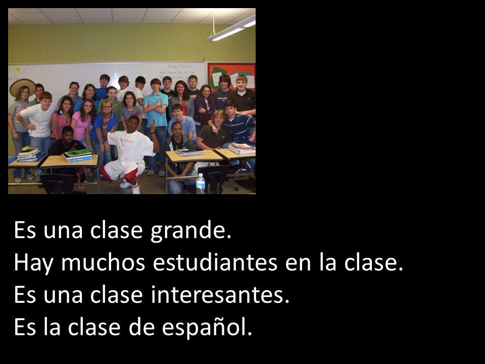 Es una clase grande. Hay muchos estudiantes en la clase. Es una clase interesantes. Es la clase de español.