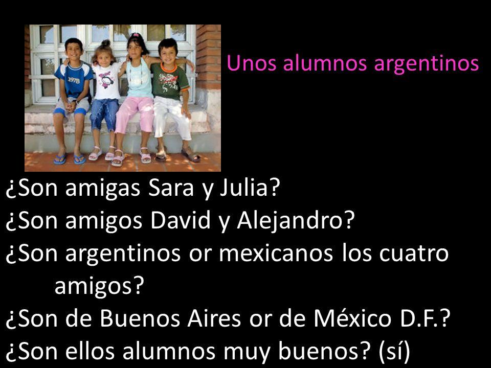 ¿Son amigas Sara y Julia? ¿Son amigos David y Alejandro? ¿Son argentinos or mexicanos los cuatro amigos? ¿Son de Buenos Aires or de México D.F.? ¿Son