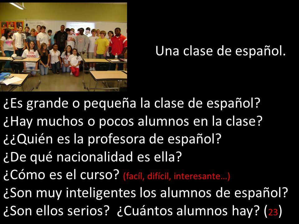 Una clase de español. ¿Es grande o pequeña la clase de español? ¿Hay muchos o pocos alumnos en la clase? ¿¿Quién es la profesora de español? ¿De qué n