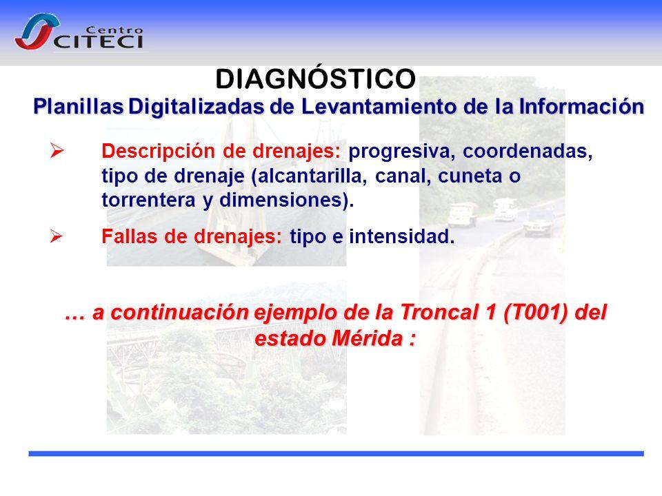 Planillas Digitalizadas de Levantamiento de la Información Descripción de drenajes: progresiva, coordenadas, tipo de drenaje (alcantarilla, canal, cun
