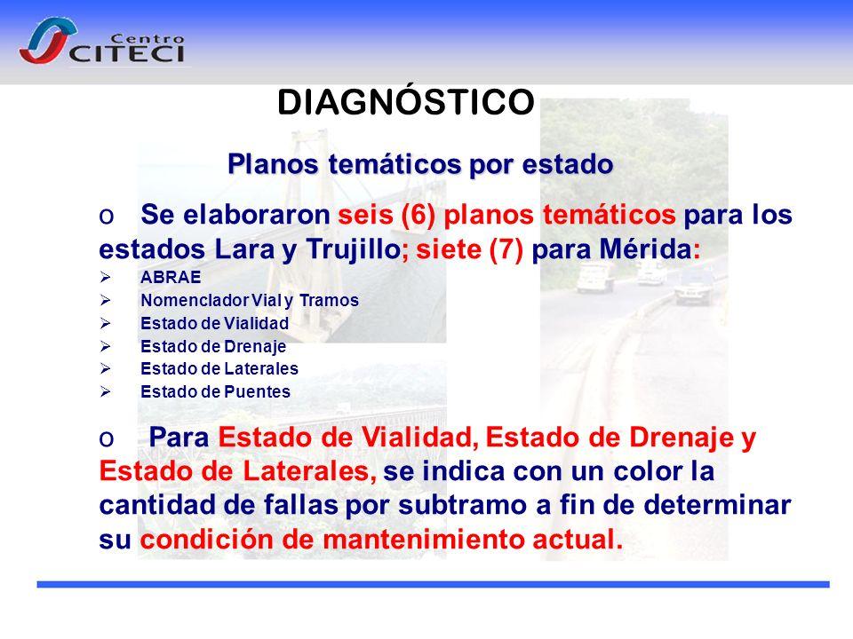Planos temáticos por estado oSe elaboraron seis (6) planos temáticos para los estados Lara y Trujillo; siete (7) para Mérida: ABRAE Nomenclador Vial y
