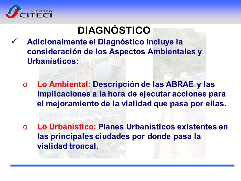 Adicionalmente el Diagnóstico incluye la consideración de los Aspectos Ambientales y Urbanísticos: oLo Ambiental: Descripción de las ABRAE y las impli