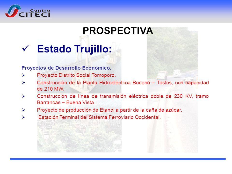 PROSPECTIVA Estado Trujillo: Proyectos de Desarrollo Económico. Proyecto Distrito Social Tomoporo. Construcción de la Planta Hidroeléctrica Boconó – T