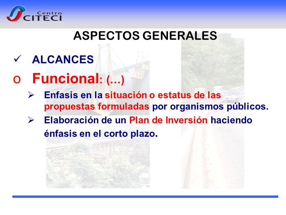 ALCANCES oFuncional : (…) Enfasis en la situación o estatus de las propuestas formuladas por organismos públicos. Elaboración de un Plan de Inversión