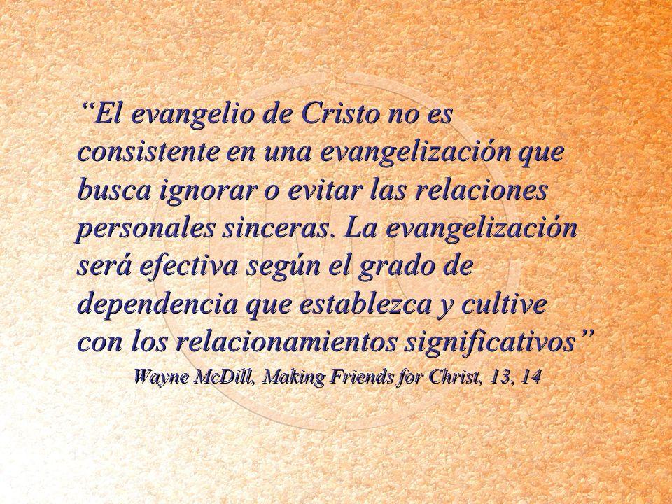 El evangelio de Cristo no es consistente en una evangelización que busca ignorar o evitar las relaciones personales sinceras. La evangelización será e