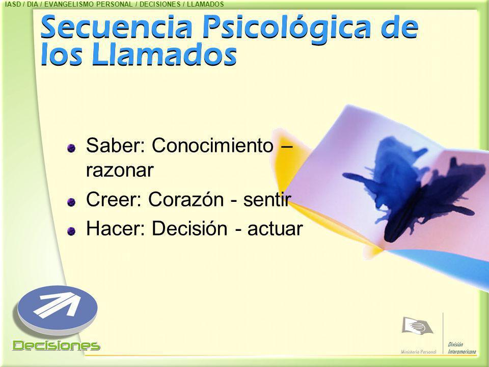 Secuencia Psicológica de los Llamados Secuencia Psicológica de los Llamados Saber: Conocimiento – razonar Creer: Corazón - sentir Hacer: Decisión - ac