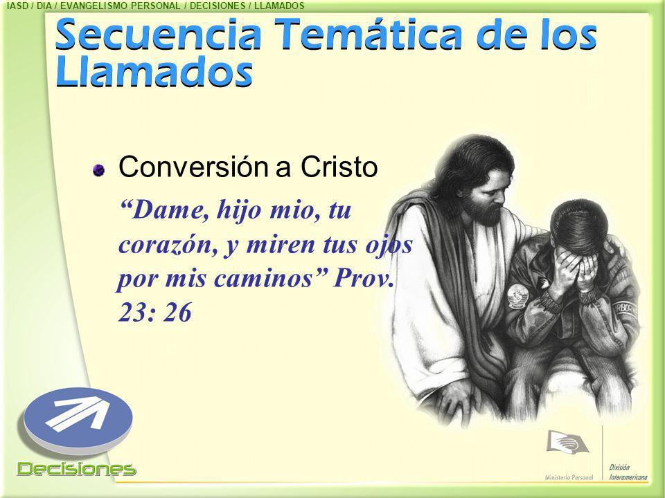 Secuencia Temática de los Llamados Secuencia Temática de los Llamados Conversión a Cristo Dame, hijo mio, tu corazón, y miren tus ojos por mis caminos