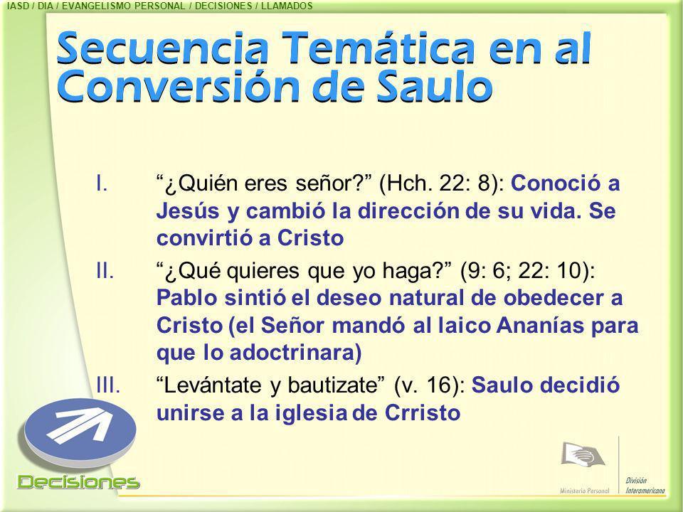 Secuencia Temática en al Conversión de Saulo I.¿Quién eres señor? (Hch. 22: 8): Conoció a Jesús y cambió la dirección de su vida. Se convirtió a Crist