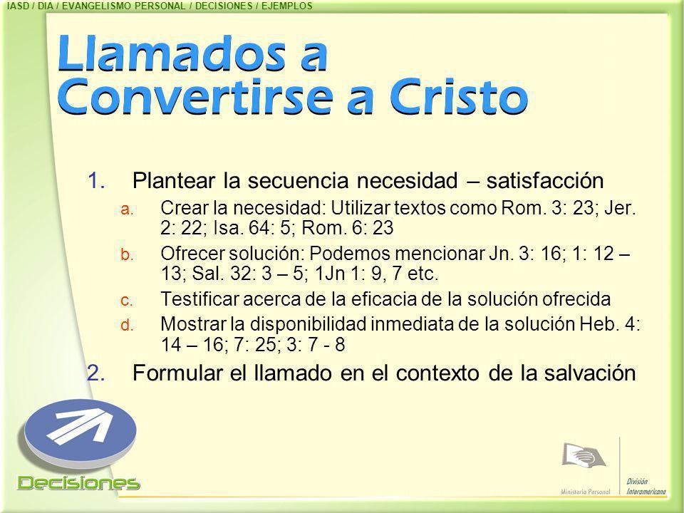 Llamados a Convertirse a Cristo 1.Plantear la secuencia necesidad – satisfacción a. Crear la necesidad: Utilizar textos como Rom. 3: 23; Jer. 2: 22; I