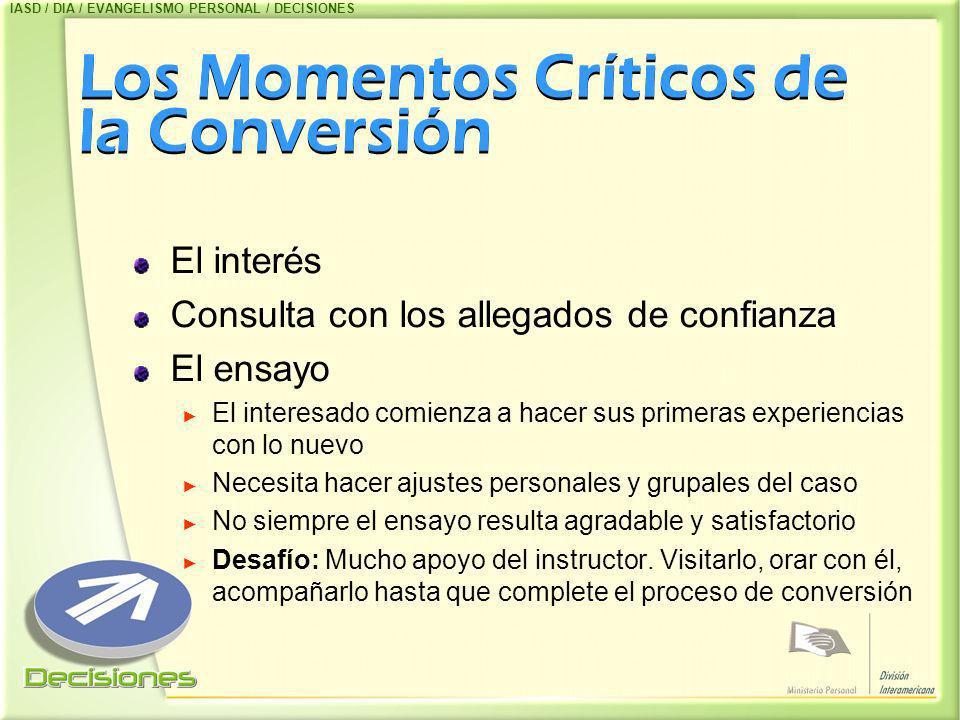 Los Momentos Críticos de la Conversión El interés Consulta con los allegados de confianza El ensayo El interesado comienza a hacer sus primeras experi