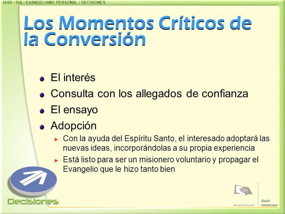 Los Momentos Críticos de la Conversión El interés Consulta con los allegados de confianza El ensayo Adopción Con la ayuda del Espíritu Santo, el inter