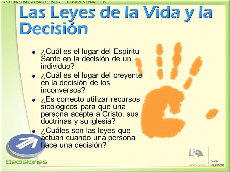 Las Leyes de la Vida y la Decisión ¿Cuál es el lugar del Espíritu Santo en la decisión de un individuo? ¿Cuál es el lugar del creyente en la decisión
