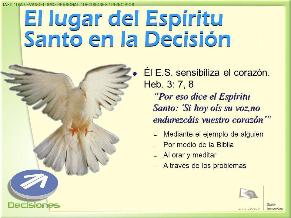 El lugar del Espíritu Santo en la Decisión Él E.S. sensibiliza el corazón. Heb. 3: 7, 8 Por eso dice el Espíritu Santo: ´Si hoy oís su voz,no endurezc