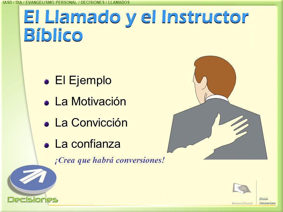 El Llamado y el Instructor Bíblico El Ejemplo La Motivación La Convicción La confianza ¡Crea que habrá conversiones! IASD / DIA / EVANGELISMO PERSONAL