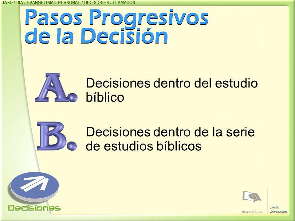 Pasos Progresivos de la Decisión Decisiones dentro del estudio bíblico Decisiones dentro de la serie de estudios bíblicos IASD / DIA / EVANGELISMO PER