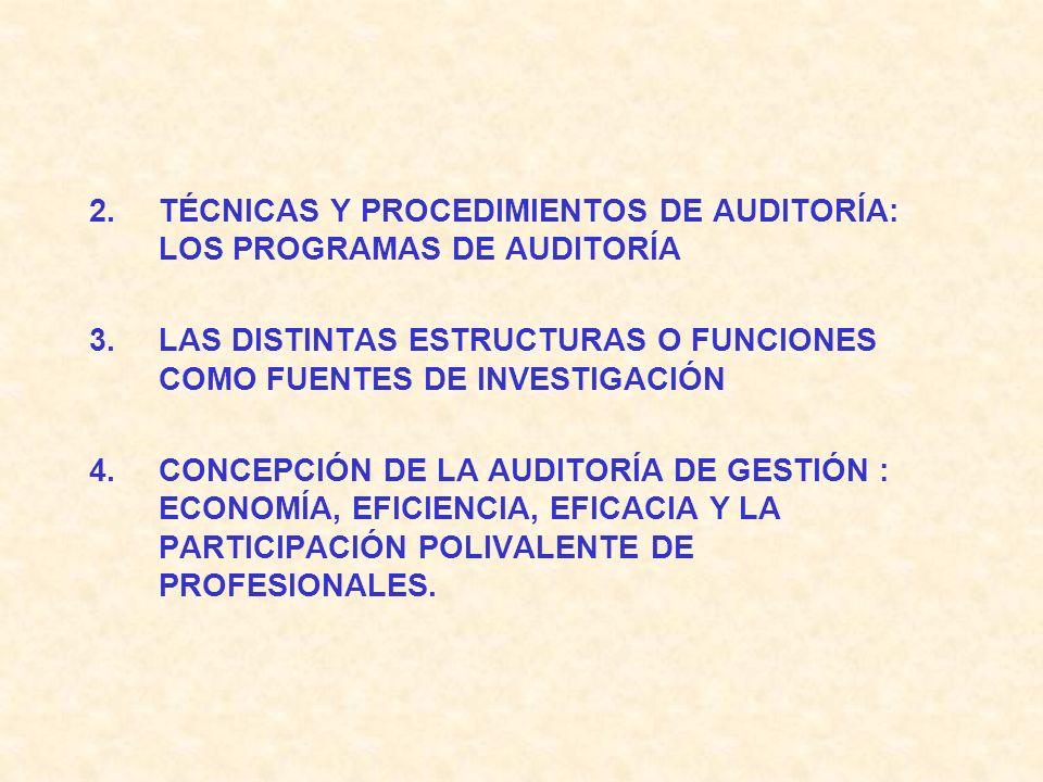 2.TÉCNICAS Y PROCEDIMIENTOS DE AUDITORÍA: LOS PROGRAMAS DE AUDITORÍA 3.LAS DISTINTAS ESTRUCTURAS O FUNCIONES COMO FUENTES DE INVESTIGACIÓN 4.CONCEPCIÓN DE LA AUDITORÍA DE GESTIÓN : ECONOMÍA, EFICIENCIA, EFICACIA Y LA PARTICIPACIÓN POLIVALENTE DE PROFESIONALES.